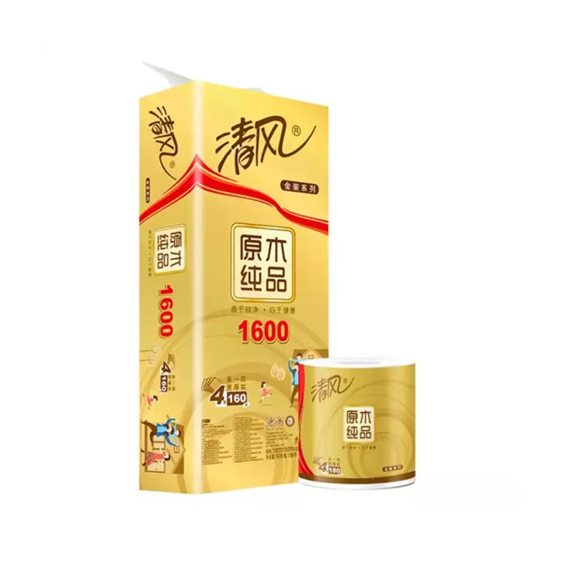 清风原木纯品金装卷筒纸10卷(B20A6JN)160g1提装
